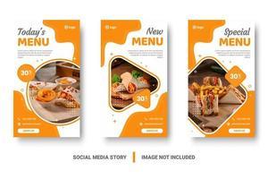 ensemble de médias sociaux de nourriture verticale orange et blanc