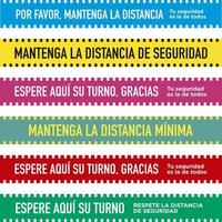 Set of social distancing floor bands in Spanish