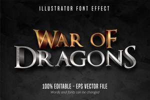 Krieg der Drachen Text Schriftart Effekt vektor