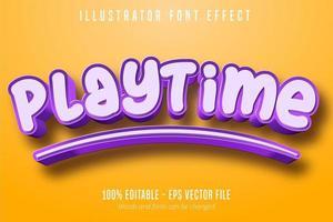 efecto de texto de tiempo de juego vector
