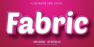 Fabric pink style font effect  vector