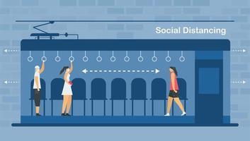 distanciamento social em trem elétrico vetor