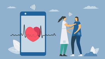 Wireless digital stethoscope vector
