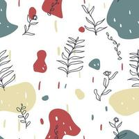 Seamless hand drawn memphis style flower pattern