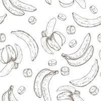 plátano dibujado a mano de patrones sin fisuras