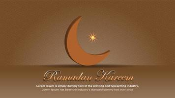 Ramadan poster with moon and pattern in brown vector