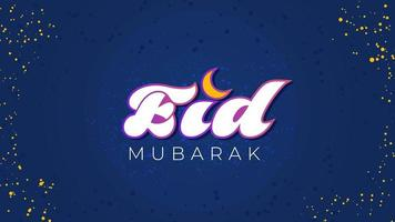 Eid Mubarak text on blue gradient with dots vector