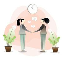 Two women shaking hands and making a deal vector