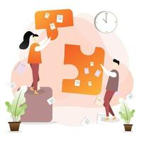 Business team holding puzzle pieces vector