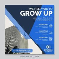 Blue and dark blue square corporate post template vector