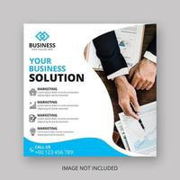 Blue and white wavy edge social media business banner vector