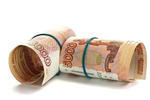 Roll of Russian money with rubber band photo
