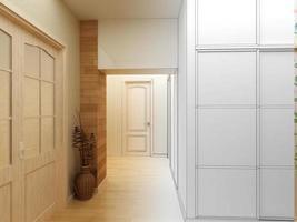 Interior de diseño moderno de hall, pasillo. Render 3d foto
