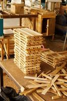 Stack of wood in factory photo