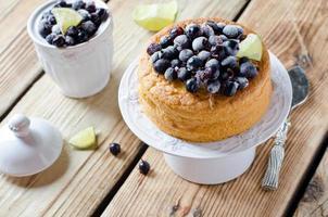 Sponge cake with berries photo