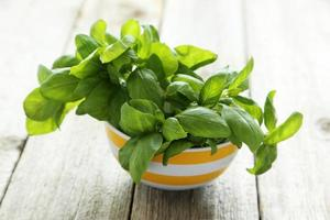 Basil leaves in bowl on grey wooden background