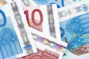 closeup de notas de euro - União Europeia