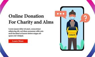 Banner Online Donation for Charity on Phone Screen