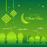 Eid al Fitr Green Background for Islamic Festival vector