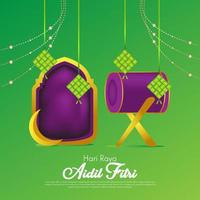 Eid al Fitr Purple Green Background for Islamic festival vector
