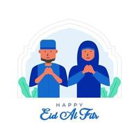 Happy Eid al Fitr Background with Muslim Couple vector