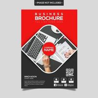 Red Dark Grey Geometric Rounded Square Brochure Template vector