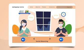 página de inicio de distanciamiento social con hombre y mujer enmascarados vector