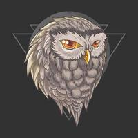 Owl head with upside triangle design vector