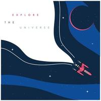 Explore the universe background with spaceship vector