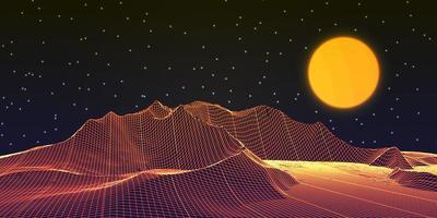 Wireframe landscape banner design vector