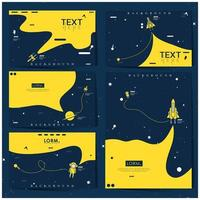Blue and yellow space explorer background set vector