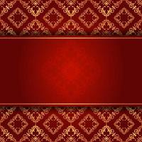 Elegant red and gold damask background with coypspace vector