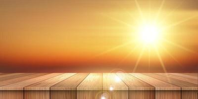 Sunshine over wooden table vector