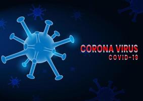Coronavirus COVID-2019 on Dark Blue Background