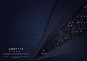 Abstract Dark Blue Overlapping Layers Background with Glowing Dots  vector