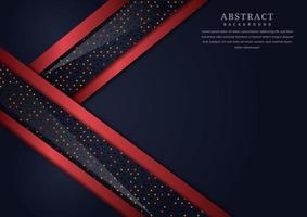 Abstract Black Geometric Overlapping Layers  with Red Border  vector