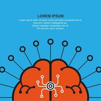 Abstract human brain symbol and copyspace vector