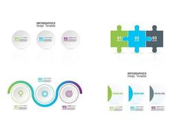 Bright infographic set with circles and puzzle pieces