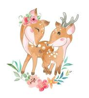 Cute Deer Family with Flowers vector