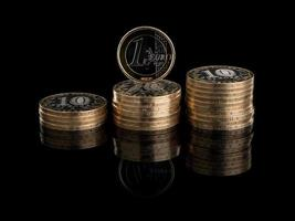 Three groups of the Russian coins and one euro photo