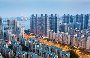 Asian urban night, overlooking