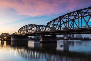 Bangkok city with bascale bridge at sunrise photo