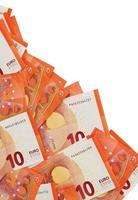 Fondo de billetes de diez euros en la esquina