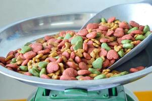 dog food in iron scoop on weighing scale
