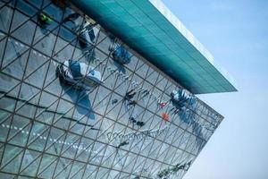 Modern airport terminal facade photo