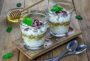 Ricotta cheese dessert with honey, sunflower seeds and mint photo