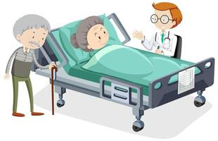 anciana en cama de hospital vector
