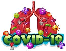 Covid 19 sign template with human lungs full of viruses