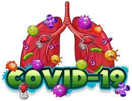 plantilla de signo covid 19 con pulmones humanos llenos de virus