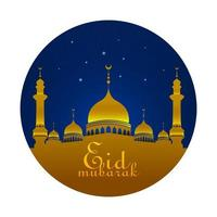 Eid Mubarak saludo con mezquita en la noche con estrellas azules